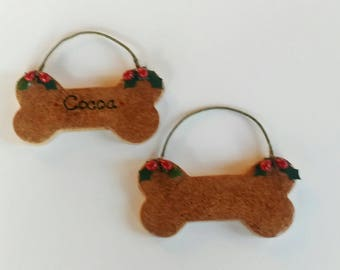 hand sculpted polymer Holiday dog biscuit ready to personalize