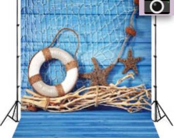 Summer Newborn Blue Starfish Buoy Photo Backdrop