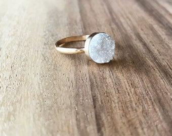 10 mm Gold Druzy Ring, Druzy Ring, White Druzy Ring, White Druzy, Druzy Jewelry