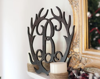 Antler Wood Monogram, Unfinished, Ready To Paint