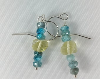 Sparkling Blue Zircon & Sunshine Yellow Lemon Quartz Sterling Silver Filled Earrings