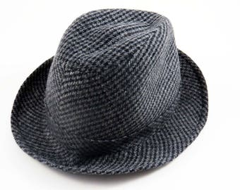 Vintage FEDORA HAT by JAXON / Gray Herringbone Plaid  / Wool Blend / Polyester Lined / Christmas-Father's Day Gift