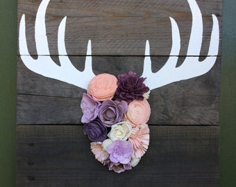 Deer Antlers with Wood Flowers Wall Art
