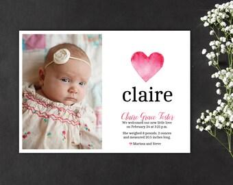 watercolor heart birth announcement, watercolor birth announcement, heart baby announcement