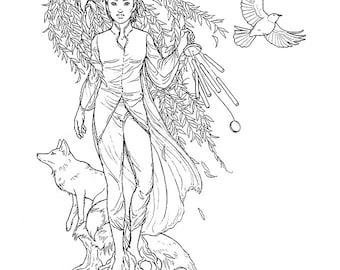 Wind in Willow - Ink drawing, coloring page instant download digital stamp, fantasy fairy tree dryad wind air