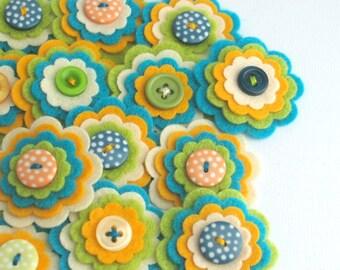 COOPER x 3 Handmade Felt Flower Embellishments, Flower Appliques, Scrapbook Journal Felt Embellishments, Felt Blooms, Kids Craft Flowers