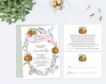 Fall Bridal Shower Invitations, Greenery and Pumpkin, Customizable Text, Fall Bridal Shower Bundle, Bridal Shower, Bridal Shower Invite, DIY