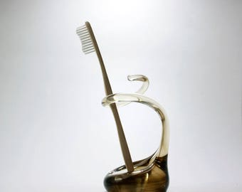 Unique Glass Toothbrush Holder in Smokey Topaz - Made on Request