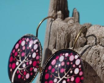 "Earrings cabochon ""tree of life"""