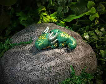 Baby Golden Spotted Green Dragon Hatchling Sleeping Polymer Clay Figure Sculpture
