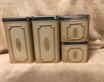 Set Of Four--Vintage--Ekco--Canisters--Mid Century Modern--Flour--Sugar--Coffee--Tea