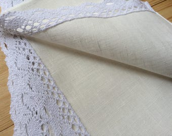 Set of 6 Linen Placemats Ivory with White lace  - 17'' x 11'' - 43 cm x 28 cm
