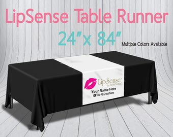 LipSense Printed Table Runner - Custom Logo Table Runner - Trade show Pop Up Party - Table Cloth