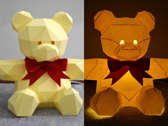Good Teddy Bear Lamp You Can Build Yourself! | Light Up Teddy Bear | DIY Project  | Baby Shower | Paper Lantern