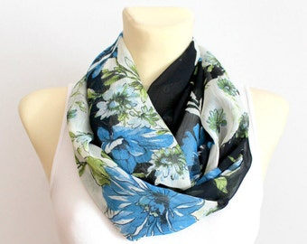 Scarves for Women Summer Infinity Scarf  Floral Infinity Scarf Blue and Black Scarf Women Cobalt Blue Scarf Summer Fashion Gift for Wife