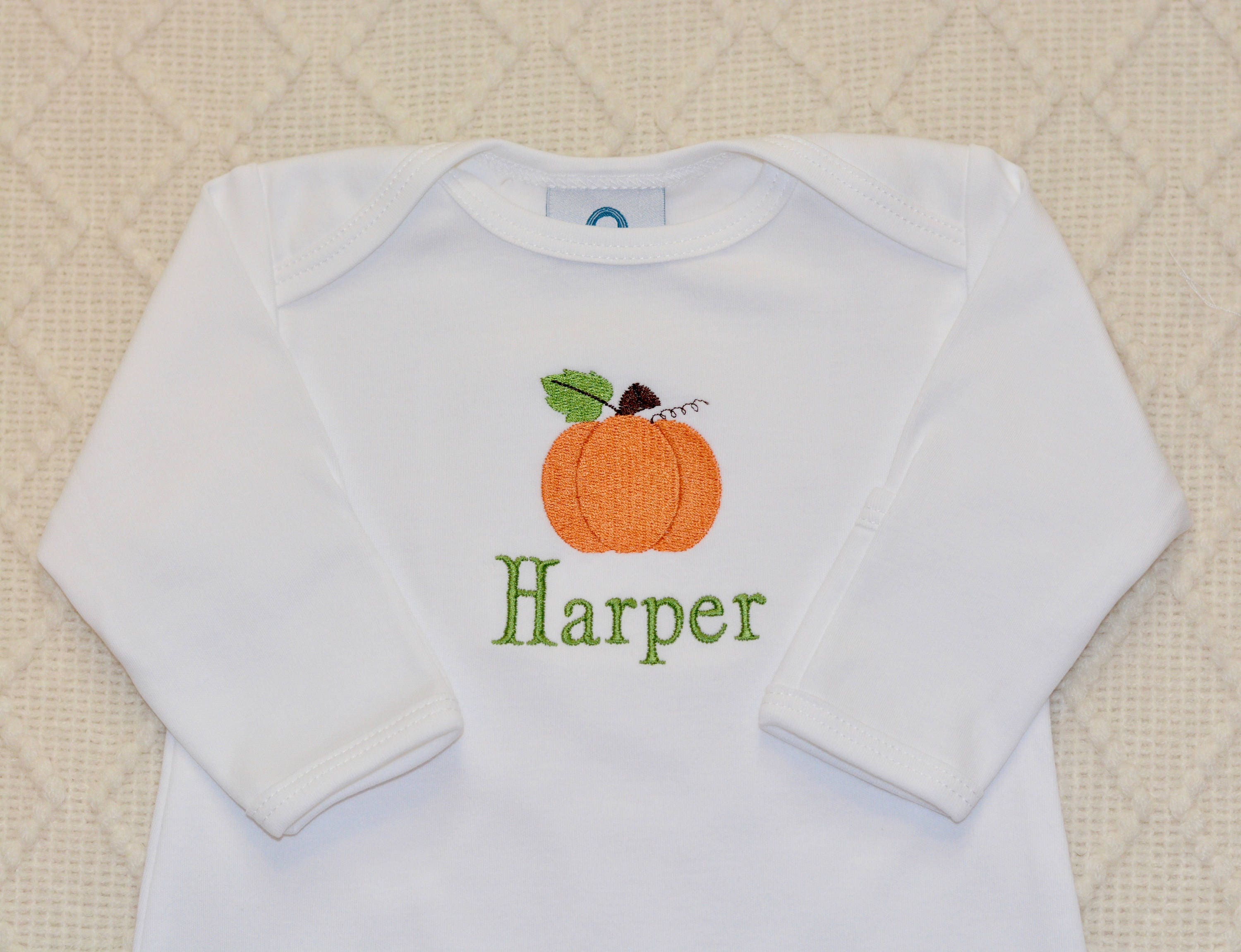 ing Home Outfit Pumpkin Pima Cotton Monogrammed Footed