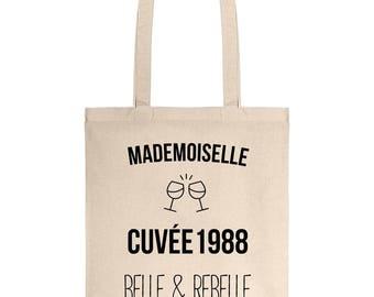 Canvas bag mademoiselle vintage 1988 30 cotton