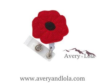 Poppy Badge Reel, Flower Badge Reel, Poppy ID Holder, ID Badge Holder, Teacher Gift, Nurse Gift, Custom Badge Reel