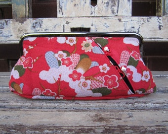 Red Japanese Fabric Kimono Red Crepe Floral Clutch - Red Kimono Purse - Red Kimono Clutch