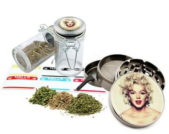 "Marilyn Monroe - 2.5"" Zinc Alloy Grinder & 75ml Locking Top Glass Jar Combo Gift Set Item # 50G012516-21"