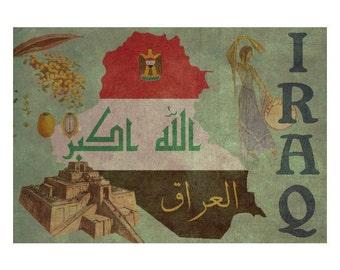 IRAQ 1FS- Handmade Leather Journal / Sketchbook - Travel Art