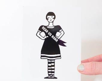 Hear Us Roar Feminist Postcards, Suffragette, Women's Rights Cards
