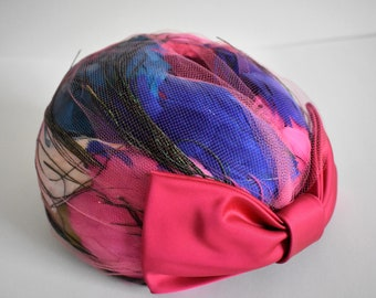 Mid Century Vintage Feather and Bow Ladies Turban Hat by Ken Blair