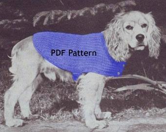 Dog Sweater Coat, 3 Sizes, Vintage Knit Pattern, Pet Puppy, PDF Instant, Digital Download