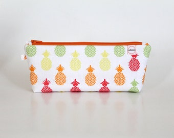 Pineapple Zipper Pouch, Long Pencil pouch, Student school- Journal- planner supplies bag, Small Makeup bag, Summer fruit bag, kids bag