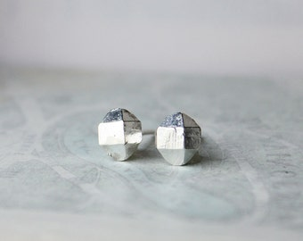 Sterling Silver Studs, Silver Earrings, cast crystal point herkimer diamond, minimalist modern gift for wife girlfriend