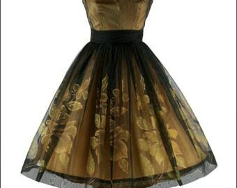 Exquisite Original 1950s Black ILLUSION Floral Party Dress l XS/S