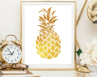 Gold Pineapple, Housewarming gift, wall art print, wall decor, gift for friend, pineapple wall art, art print