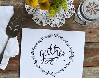 Fall art, Fall Decor, Gather, Give Thanks, Happy Fall, Seasonal Decor Autumn, Illustration, Thanksgiving, Art Print, hand lettering