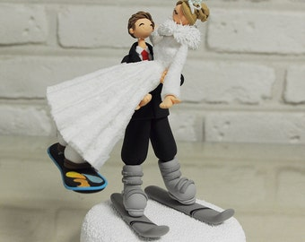 Snow board, ski custom wedding cake topper decoration gift keepsake
