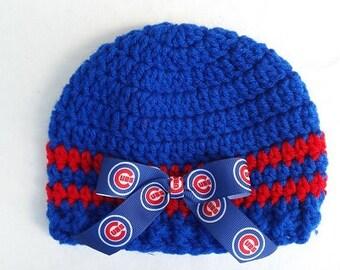 Baby Hat, Chicago Cubs, Crochet, Handmade, Newborn, 3-6 months