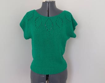 Vintage 1980s Green Openwork Short Sleeve Sweater - Womens Bust 36 (B5)
