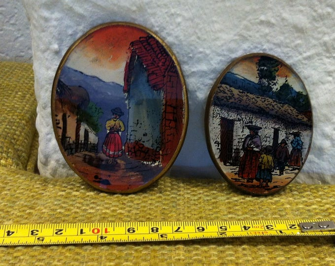 Vintage Peru behind stained glass hand work oval wall Decoration