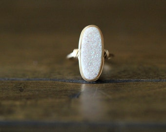 Druzy Oval Gold Ring , White Statement Gemstone Ring , Gold , Sterling Silver , Rose Gold , Gift Ideas - Confetti Cream