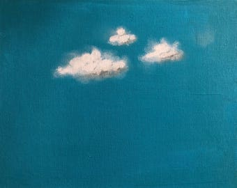 Original Painting, Acrylic Painting, Cloud Art, Cloud Painting, Landscape Painting, Painting on Canvas, Wall Art, Blue, Grey, Baby Room Art