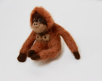 Needle Felted Orangutan: Alpaca Fiber Soft Sculpture