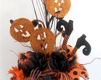 Halloween Arrangement, halloween decor, halloween party decorations, witches boots, halloween table centerpiece, witch boots decor