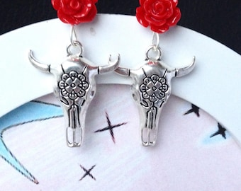 Retro dangling earrings, vintage, rockabilly, pinup skull