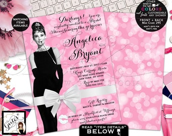 "Pink Bridal Shower Invitation, Audrey Hepburn Inspired Party Invites, Breakfast Bridal Shower Brunch, Digital, Double Sided, 5x7"" Gvites"