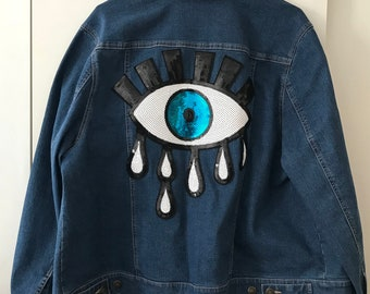 Upcycled Jessica London Denim Jacket with Sequins Eye Backpatch