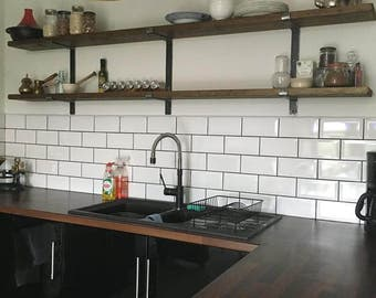 Handmade Rustic Country Living Shelf Shelving System on Handmade 2 Tier Bracket System