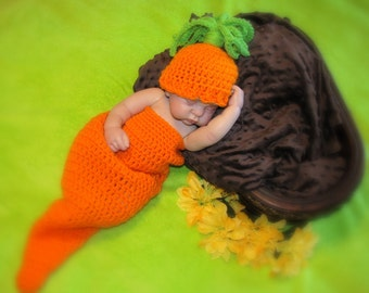 Baby CARROT Cocoon Photo Prop - ORANGE - Garden - Made to ORDER - Reborn Doll