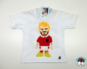 DAVID BECKHAM patchwork embroidered T SHIRT