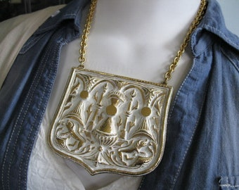 Egyptian Medallion Breastplate Necklace, Massive Dimensional  Figural Plaque, Creatures and Urns, White Powder Enamel on Gold, Theater Piece