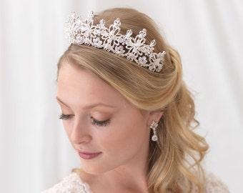 Swarovski Crystal Bridal Tiara, Crystal Wedding Crown, Rhinestone Bridal Crown, Crystal Wedding Tiara, Bridal Headpiece,Bride Tiara ~TI-3302