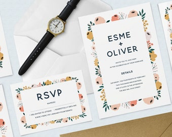 Flower Wedding Invitation & RSVP Set / Bundle, Invitation and RSVP Pack, flowers, Wreath, Minimal, Calligraphy Invitation